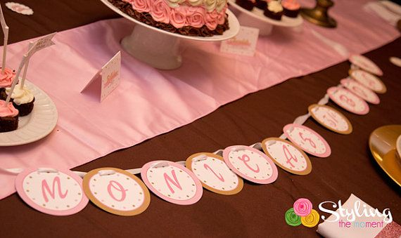 Pink and Gold Banner by Stylingthemoment on Etsy, $8.75