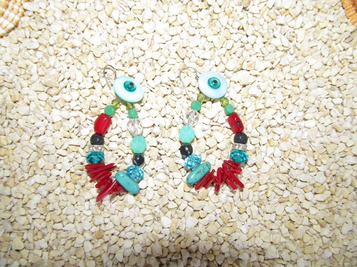 Handmade earrings (1 pair)  Made with semiprecious stones and glass beads.