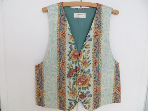 Aqua Waistcoat with Floral Panel 38-40 with Free Matching  Tie Handmade. £34.99