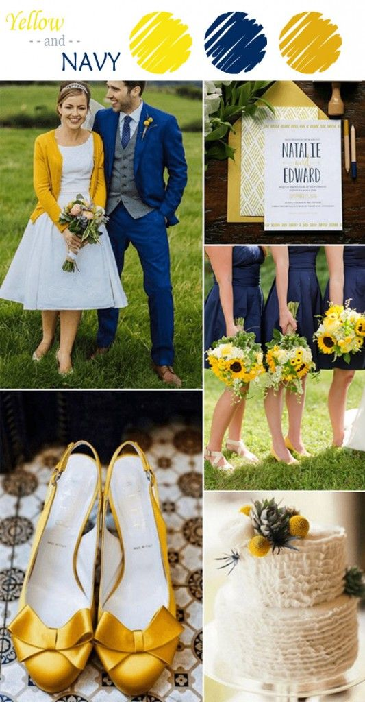 navy and yellow wedding color ideas for fall 2015