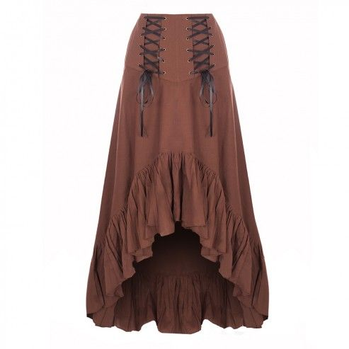 Brown Asymetrical Steampunk Skirt