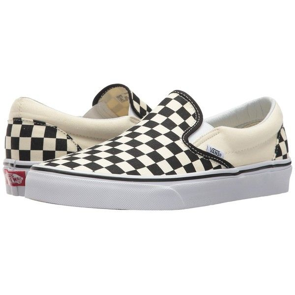Vans Classic Slip-Ontm Core Classics (Black and White Checker/White... ($50) ❤ liked on Polyvore featuring shoes, sneakers, white shoes, canvas slip on sneakers, slip on sneakers, canvas slip on shoes and black and white sneakers