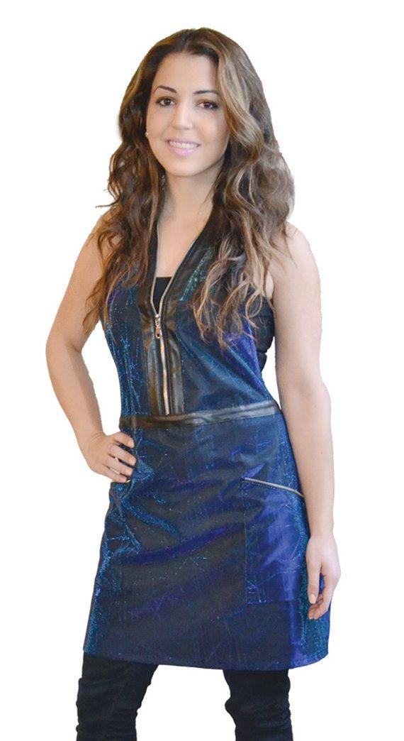 Sparkling Zipper Apron - Blue - Glitter Sparkle apron cute salon wear metallic shimmer blue