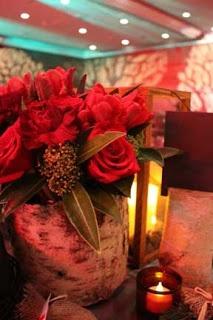 Roses in wood vase