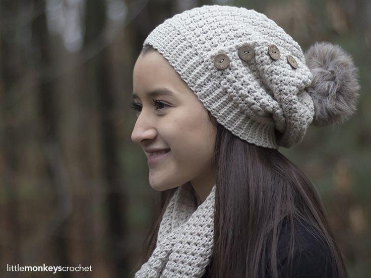 Elena Slouch Hat Crochet Pattern   Free button slouchy hat crochet pattern by Little Monkeys Crochet
