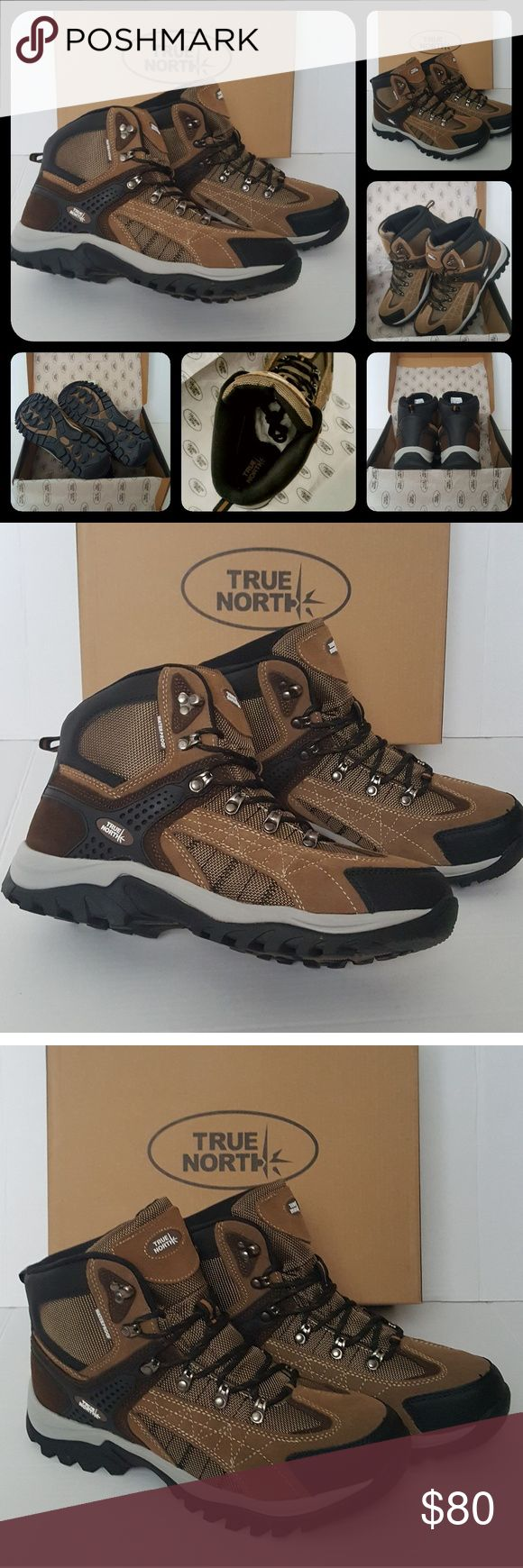 *TRUE NORTH* Men's Hiking Boots NEW IN BOX!  Sz 11 ** TRUE NORTH **  - High top men's hiking boots - Waterproof - Lightweight - Comfortable - Removable cushioned insole - Thick padded ankle & tongue for comfort.  NEW IN BOX! **Other styles available in my closet** True North Shoes Boots