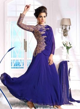 Royal Blue designer wedding wear Indian anarkali in georgette