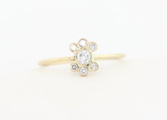 $925 14K Diamond Bezel Engagement Ring Set With by MichaelGabriels