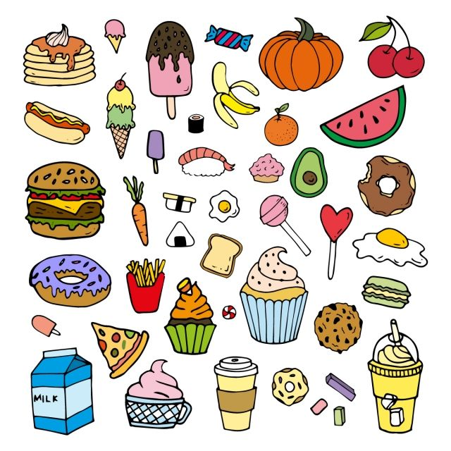 Color Food Cartoon Doodles Set Food Clipart Color Colorful Png And Vector With Transparent Background For Free Download Food Doodles Food Cartoon Line Doodles