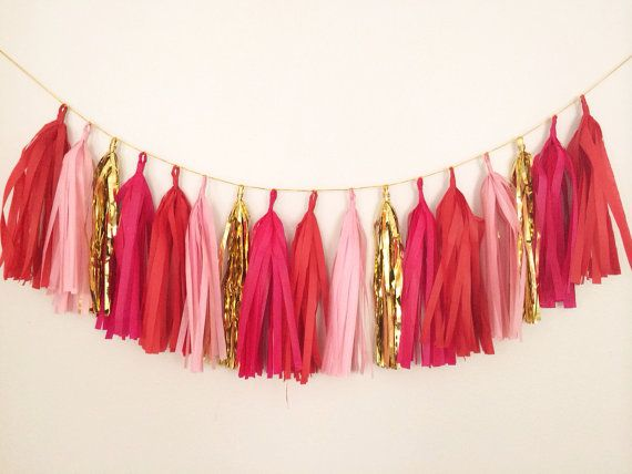 Romantic Red Pink and Gold Tassel Garland on a Gold Rope- Spring Decor, Easter Decor, Party Decor, Birthday Party, Nursery, & Photo Props