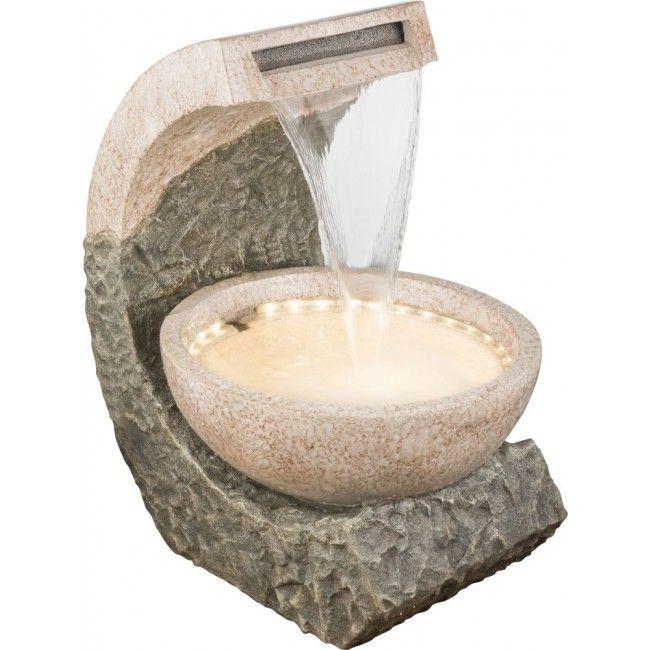 GLOBO ALBERT Brunnen Kunststoff Braun, 1xLED