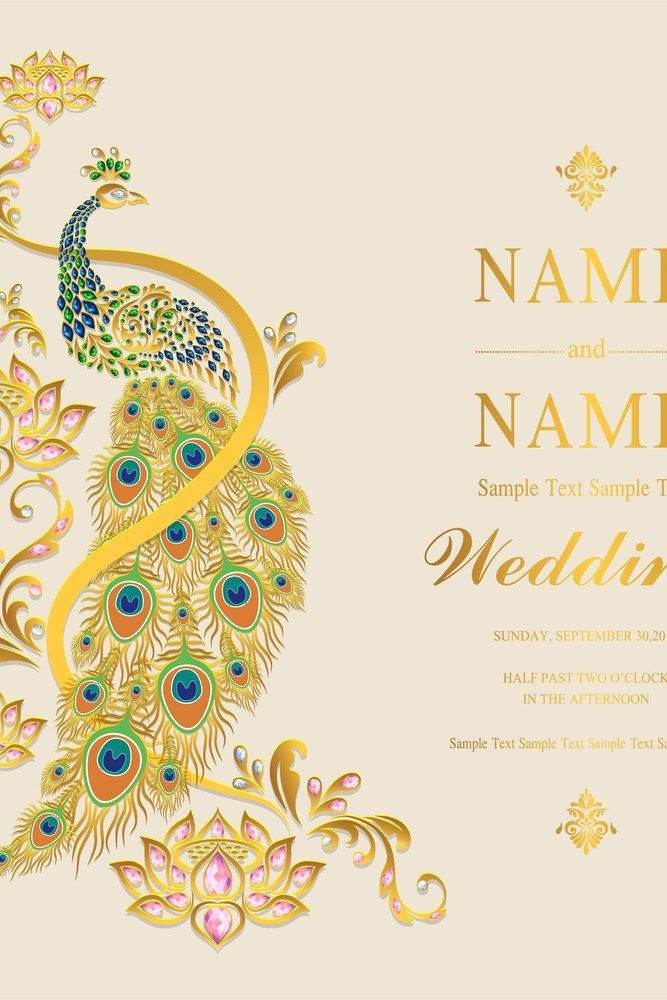 Wedding Invitation Card Templates With Gold Peacock And Lotus Patterned And Cryst Wedding Invitation Card Template Wedding Invitations Wedding Invitation Cards