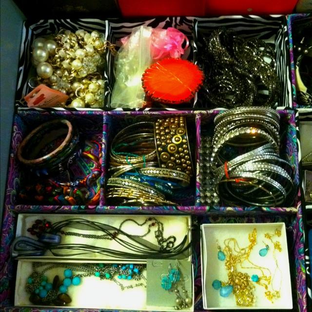 Jewelry drawer organized.