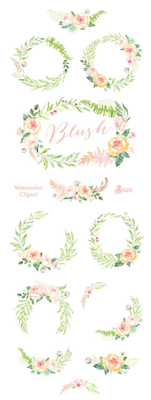 Röte. 12 Aquarell Kränze und Sträuße Pfirsich Sahne rosa