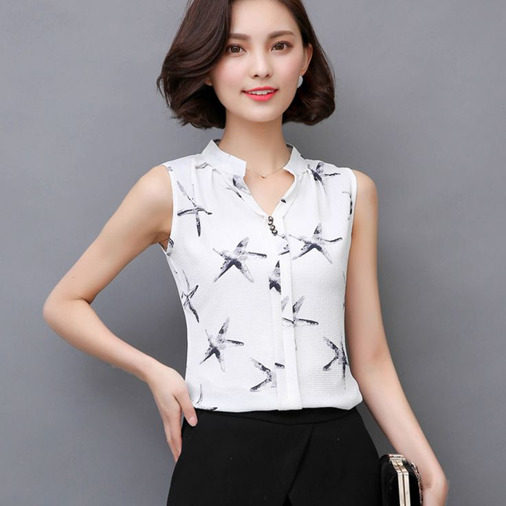 Cheap shirt tall, Buy Quality shirt directly from China shirt spain Suppliers: 2017 Summer Style Women Tops Casual Sleeveless V-Neck Fashion Women Blouse Chiffon Print Blouses Shirts Ladies Plus Size Blusas