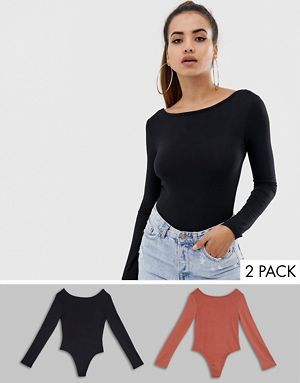 290a6af1cd98 Missguided low scoop back long sleeve body 2 pack in black and rose ...
