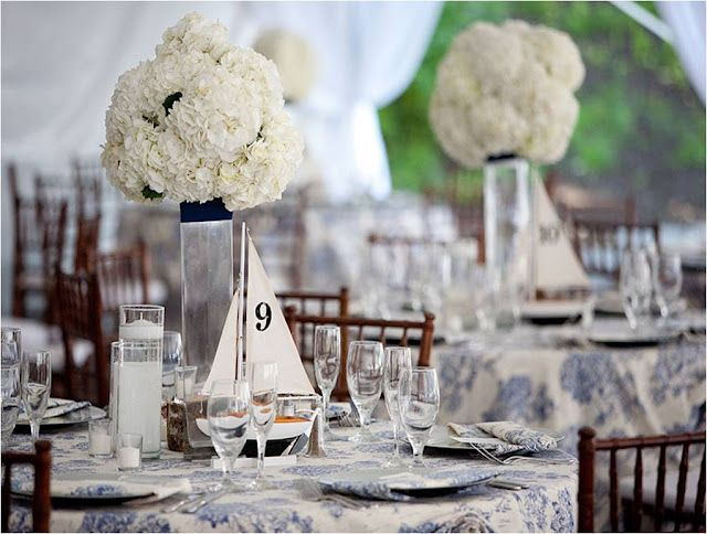 Nautical themed wedding centerpiece