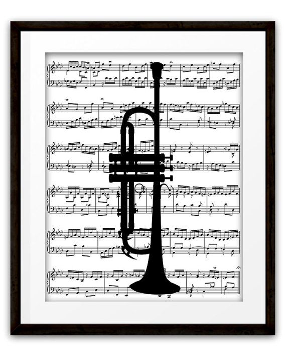 Trumpet Silhouette Music Book Page Art Print, Home Decor, Trumpet Player, Gifts Ideas, Jazz, Pop Rock, Marching Band, Orchestra, Dorm Room