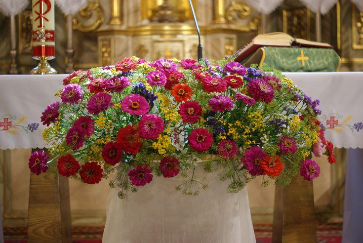 dekoracje kościoła,cynie,astry,kolorowy bukiet,kwiaty ogródkowe