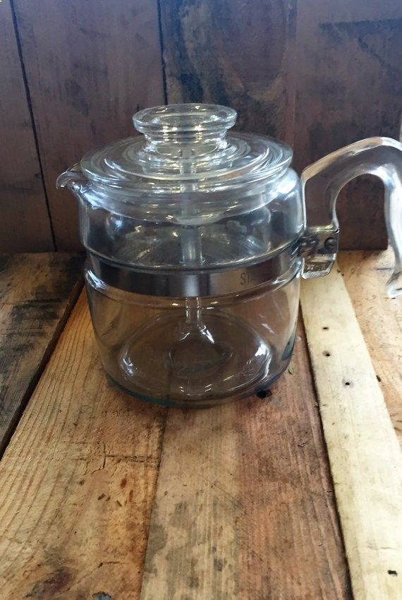 Vintage 1950s Pyrex 4 Cup Coffee Percolator 7754 Pyrex Clear Glass Coffee Coffeepercolator Percolator Coffee Percolator Vintage Coffee