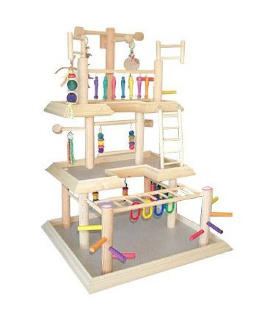 Features:- Base: 24 ' ' x 22 ' '- Overall Height: 38 ' '- Third Level: 22 ' ' x 10 ' '- Second Level: 22 ' ' x 14 ' 'Parrot Gyms includes:- 2 swings- 2 ladders- plastic ringsParrot Gyms is good for:most austrailian types, conures such as green cheeks, maroon bellies,peach fronts, red throats, gold caps, sun conures, jendays, cockatiels, parakeets, lovebirds, senegals,myers, red bellies, quakers and others of similiar size. * ALL SALES ...