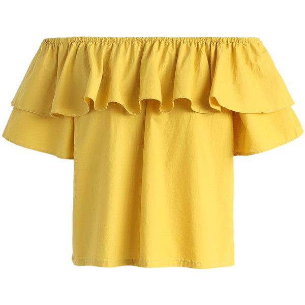 Chicwish Ruffly Mirth Off-shoulder Top in Mustard (£23) ❤ liked on Polyvore featuring tops, shirts, blusas, crop tops, t-shirts, yellow, off the shoulder tops, mustard yellow shirt, mustard yellow top and off shoulder shirt