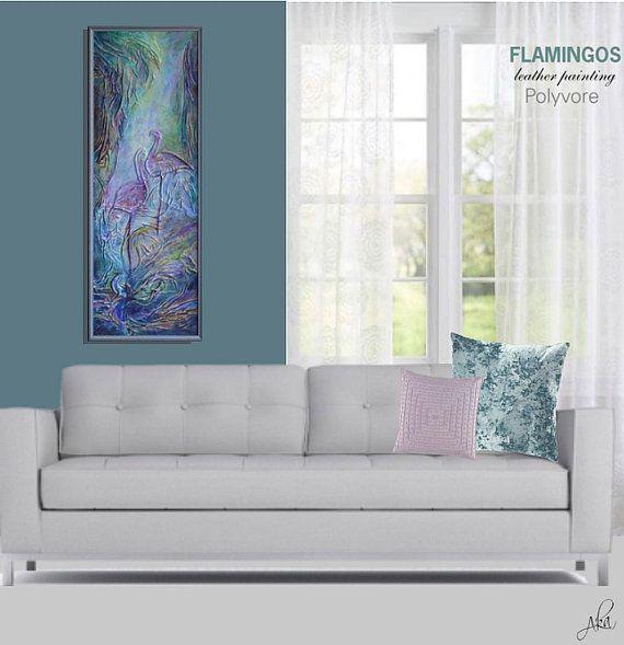 #painting #leather #turquoise #abstract #wallart #homedecor #leathergift #leatherart #flamingos #blue #artnouveau #leatherpainting #original #stylish #modern #decor #interiordesign #green #art #artdecor #polyvore