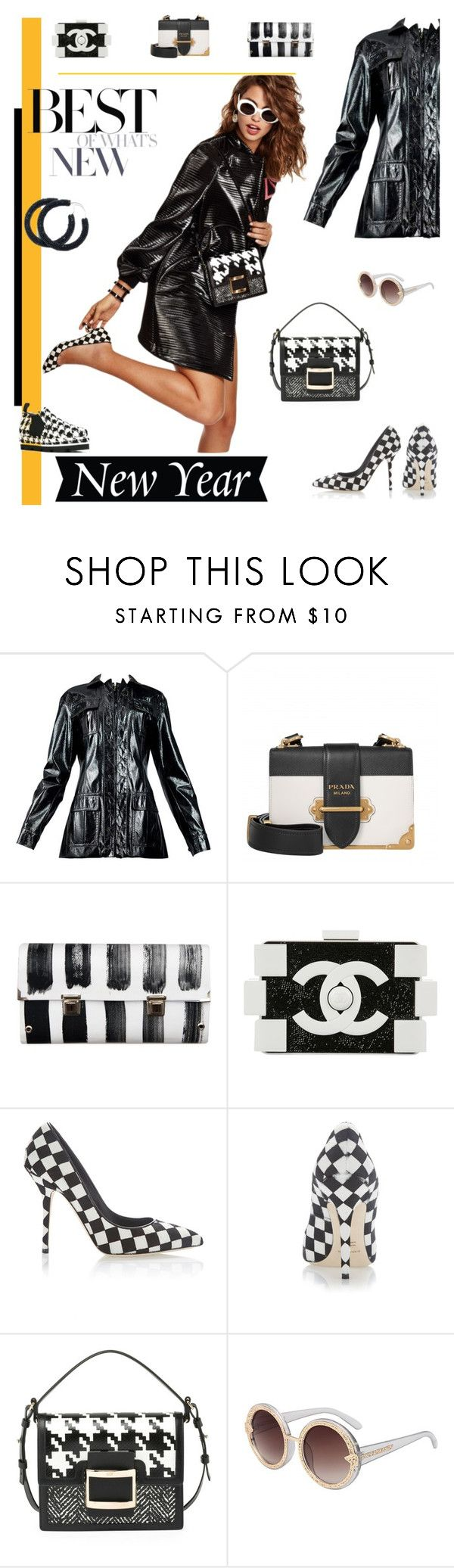 """""""Patent Leather and Checks"""" by fl4u ❤ liked on Polyvore featuring Prada, Spanaki, Chanel, Dolce&Gabbana, Roger Vivier, MSGM, men's fashion, menswear, Leather and trendsreport"""