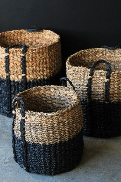 Giant Black Dipped Wicker Storage Baskets - 3 Sizes Available - Home Storage Solutions - Home Accessories