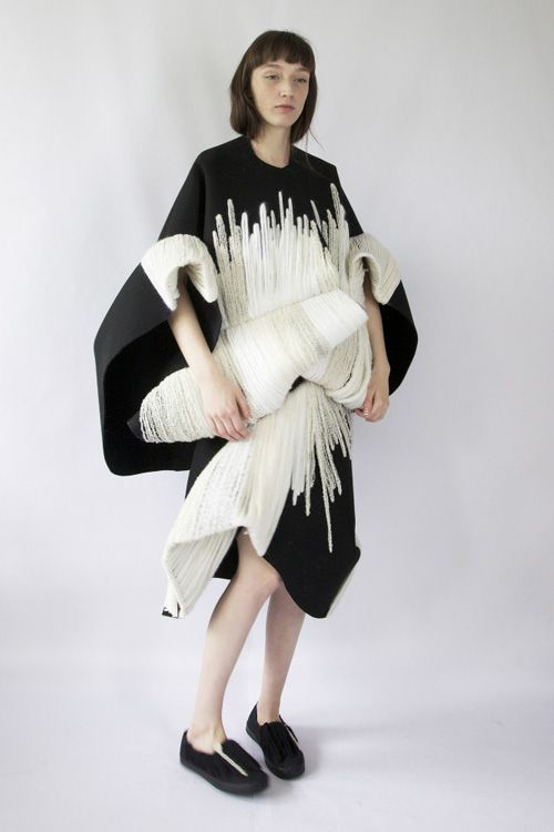 Voluminous dress with embroidered fabrics & sculptural silhouette - 3D fashion; wearable art // Claudia Li