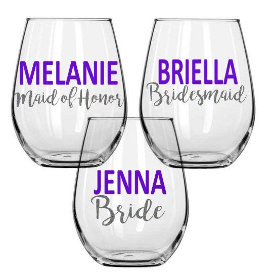 Personalized Bridal Party Wine Glass by HauteMamaBoutique on Etsy