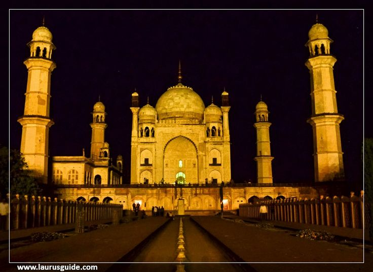 """Bibi Ka Maqbara is situated about 5 kms from the Aurangabad city, the burial place of Aurangzeb wife, Rabia-Durrani. Aurangzeb's son built this monument in 1679 AD in memory of his mother Rabia-Durrani. It is an imitation of the Taj Mahal (among 7 new wonders of world) at Agra, it is also called as """"poor man's Taj Mahal"""" owing to it being a poor replica of the Taj. Behind the tomb is located a small archeological museum."""