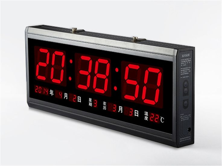 54.00$  Buy now - http://ali4ic.worldwells.pw/go.php?t=32629995279 - HT4819SM-4,Free Shipping,Aluminum Large Digital LED Wall Clock ,Big Watch Modern Design,Digital clock! Led electronic calendar