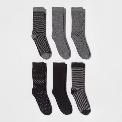 With the Novelty Crew Socks from A New Day™, you'll always be ready to take on your day in style. This pack comes with six different pairs, so you can go simple with the solid pairs, or add a fun spark with the dotted pairs or striped pairs. Whatever you choose to do, these socks will keep you comfortable whether you pair them with ankle boots or flats.