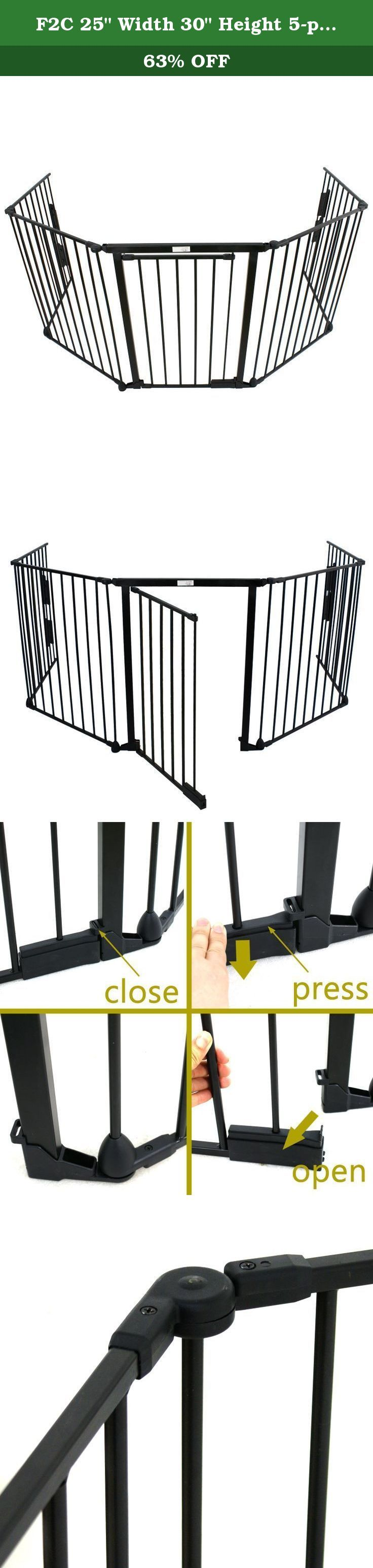 "F2C 25"" Width 30"" Height 5-panels Baby Pet Safety Fence Hearth Gate Fireplace Gate Screen Metal. NEW PRODUCT WITH FACTORY PACKAGING FEATURES Safety for use around fireplaces, grills, wood burning stoves, etc. Door with handle for easy access All joints easily rotate and lock for secure attachment Quick release, adjustable wall mount hardware Door section can be placed anywhere within the layout Constructed of heavy duty tubular steel Can be connected as a freestanding play area with…"