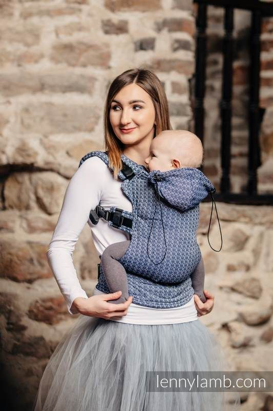 ERGONOMIC CARRIER, BABY SIZE, JACQUARD WEAVE 60% COTTON, 40% BAMBOO - WRAP CONVERSION FROM LITTLE LOVE - AQUA, SECOND GENERATION