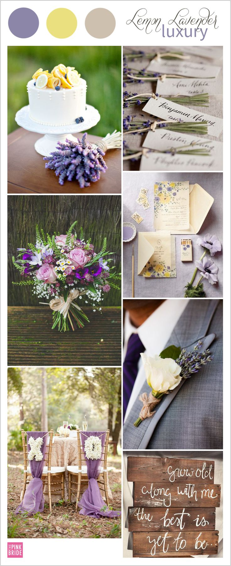 Lemon Lavender yellow and purple wedding color board with luxurious details   The Pink Bride www.thepinkbride.com