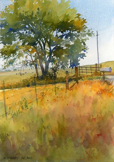 "Saturday, Sharpes Creek Road by Richard Sneary Watercolor ~ 14"" x 10"""