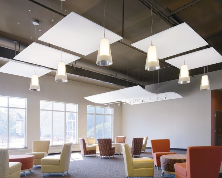 small floating panels combined with pendant lights - imagine in wood. much of ceiling is exposed.