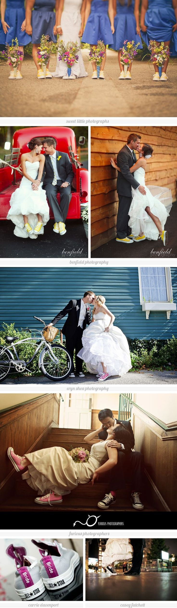 I live in chucks and combat boots. So, why would my wedding day be any different? I would do the bride ones but would get the date on the side! Obsessed.