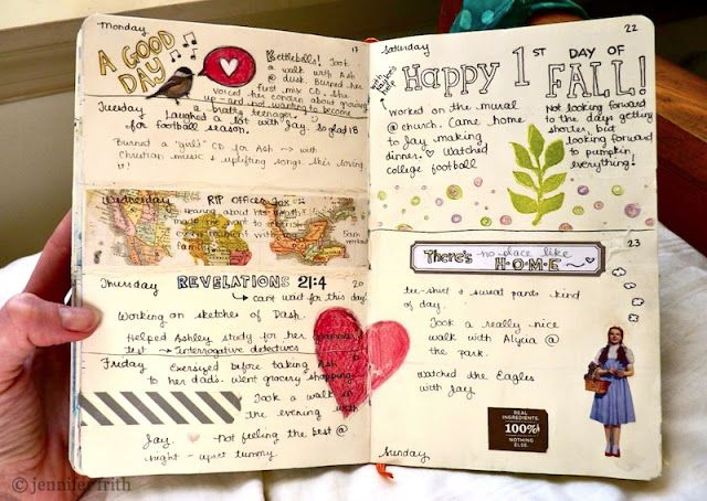 """Last week, I wasn't feeling very inspired as I prepped my journal pages for  the week ahead. I just kinda felt """"Eh"""" that day.  I used a stamp, a strip of scrapbook paper, washi-tape, and some stickers.  (Can you tell by the ripped page & sloppy glue job? ...I was totally not  feeling it.) I closed the journal and walked away.  As the week went on, though, I began filling in the dates like I normally  do. I decided to use colored pencils instead of watercolor to sketch in  some doodles…"""