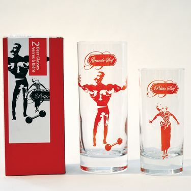 The Couple: Duo Beer Glasses - set of two screen printed drinking glasses
