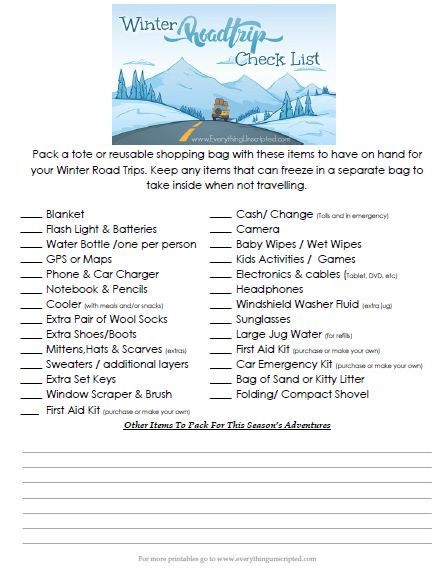 Winter Road Trip Check List   + FREE Download