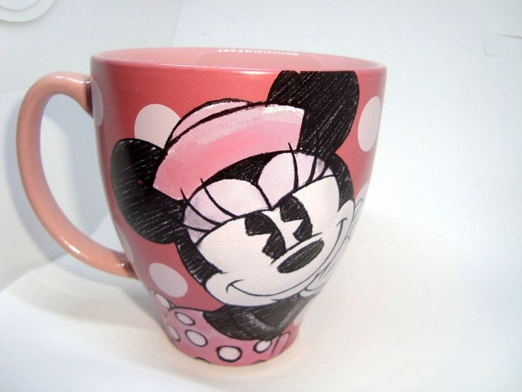 """Disney Store-""""minnie Mouse"""" Pink Wide Mouth 8 Oz Coffee Mug Cup - Ex. Condition"""