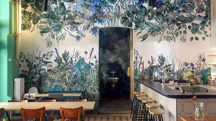 The bistro Spižirna 1902 is situated in Prague, Czech Republic and the theme of the decorative drawing was jungles inspired from Czech flora. https://www.behance.net/gallery/55850949/Spizirna-1902-Wallpaper-design