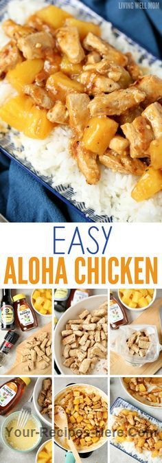 Aloha Chicken Dinner Meat 4 Chicken breast, boneless skinless Produce 1 can Pineapple chunks Condiments 1 1/2 tbsp Honey 1 1/2 tbsp Teriyaki or soy sauce Pasta & Grains 2 cups Rice, cooked Baking & Spices 1 tbsp All-purpose flour 1 1/2 tsp Cornstarch 1/8 tsp Pepper Oils & Vinegars 1 tbsp Vegetable oil
