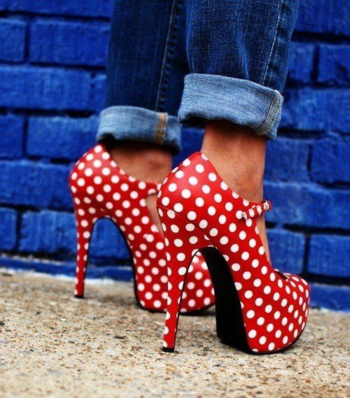 Polka dot high heels, gorgeous with blue boyfriend jeans or black yogas and a jean jacket, pair with a ponytail and bow(: Follow me at @gotta_bteen on Twitter and email me at gottaBteen@hotmail.com (: Thanks!  #I do not take credit for any pins or posts!