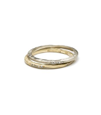 Skinny Stack Ring With Diamonds