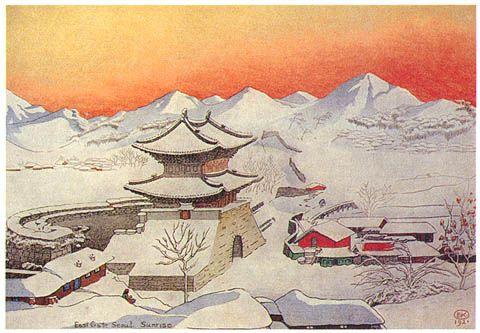 hanga gallery . . . torii gallery: East Gate, Seoul, Sunrise by Elizabeth Keith