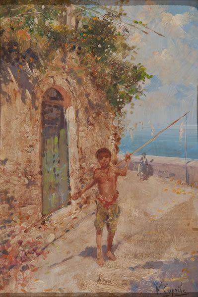 Vincenzo Caprile (Napoli 24 giugno 1856 – 23 giugno 1936) Pescatorello Olio su tela cm. 26 x 18